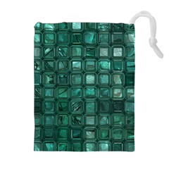 Glossy Tiles,teal Drawstring Pouches (Extra Large)