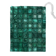 Glossy Tiles,teal Drawstring Pouches (XXL)