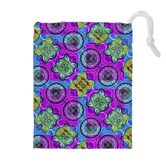 Collage Ornate Geometric Pattern Drawstring Pouches (Extra Large)