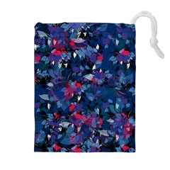 Abstract Floral #3 Drawstring Pouches (Extra Large)