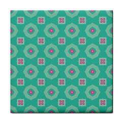 Pink Flowers And Other Shapes Pattern  			face Towel