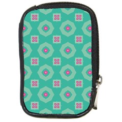 Pink Flowers And Other Shapes Pattern  compact Camera Leather Case