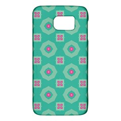 Pink Flowers And Other Shapes Pattern  samsung Galaxy S6 Hardshell Case