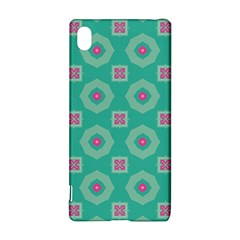 Pink flowers and other shapes pattern  			Sony Xperia Z3+ Hardshell Case