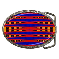 Bright Blue Red Yellow Mod Abstract Belt Buckles
