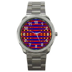 Bright Blue Red Yellow Mod Abstract Sport Metal Watch