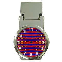 Bright Blue Red Yellow Mod Abstract Money Clip Watches