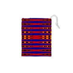 Bright Blue Red Yellow Mod Abstract Drawstring Pouches (XS)