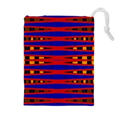 Bright Blue Red Yellow Mod Abstract Drawstring Pouches (Extra Large)