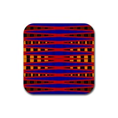 Bright Blue Red Yellow Mod Abstract Rubber Square Coaster (4 Pack)