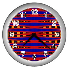 Bright Blue Red Yellow Mod Abstract Wall Clocks (silver)