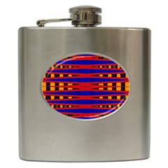 Bright Blue Red Yellow Mod Abstract Hip Flask (6 Oz)
