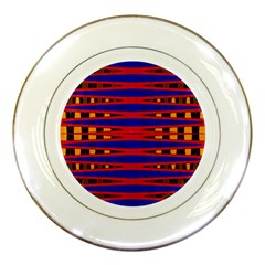 Bright Blue Red Yellow Mod Abstract Porcelain Plates