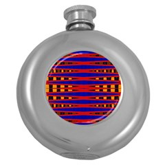 Bright Blue Red Yellow Mod Abstract Round Hip Flask (5 Oz)