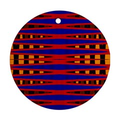 Bright Blue Red Yellow Mod Abstract Round Ornament (two Sides)