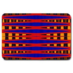 Bright Blue Red Yellow Mod Abstract Large Doormat