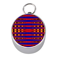 Bright Blue Red Yellow Mod Abstract Mini Silver Compasses