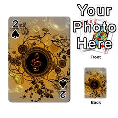 Decorative Clef On A Round Button With Flowers And Bubbles Playing Cards 54 Designs