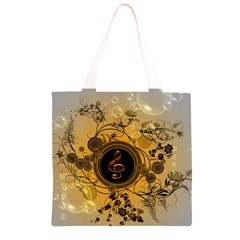 Decorative Clef On A Round Button With Flowers And Bubbles Grocery Light Tote Bag