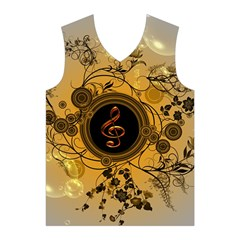 Decorative Clef On A Round Button With Flowers And Bubbles Men s Basketball Tank Top