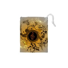 Decorative Clef On A Round Button With Flowers And Bubbles Drawstring Pouches (XS)