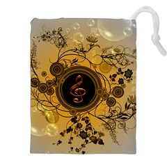 Decorative Clef On A Round Button With Flowers And Bubbles Drawstring Pouches (xxl)
