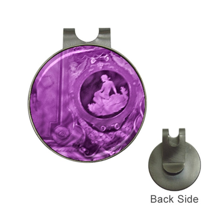 Vintage Purple Lady Cameo Hat Clips with Golf Markers
