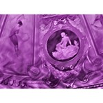 Vintage Purple Lady Cameo Heart Bottom 3D Greeting Card (7x5)  Back