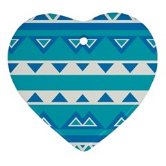 Blue Triangles And Stripes  			ornament (heart)