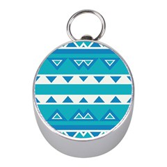 Blue Triangles And Stripes  			silver Compass (mini)