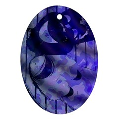 Blue Theater Drama Comedy Masks Oval Ornament (two Sides)