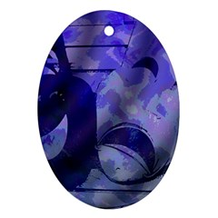 Blue Comedy Drama Theater Masks Ornament (oval)