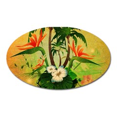 Tropical Design With Flowers And Palm Trees Oval Magnet