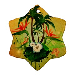 Tropical Design With Flowers And Palm Trees Ornament (snowflake)