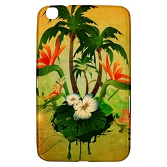 Tropical Design With Flowers And Palm Trees Samsung Galaxy Tab 3 (8 ) T3100 Hardshell Case