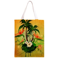 Tropical Design With Flowers And Palm Trees Classic Light Tote Bag