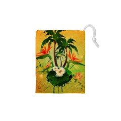Tropical Design With Flowers And Palm Trees Drawstring Pouches (XS)