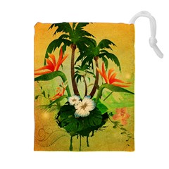 Tropical Design With Flowers And Palm Trees Drawstring Pouches (Extra Large)