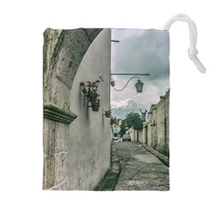 Colonial Street Of Arequipa City Peru Drawstring Pouches (Extra Large)