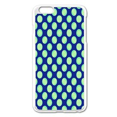 Mod Retro Green Circles On Blue Apple Iphone 6 Plus/6s Plus Enamel White Case