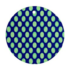 Mod Retro Green Circles On Blue Round Ornament (two Sides)