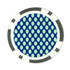 Mod Retro Green Circles On Blue Poker Chip Card Guards (10 Pack)