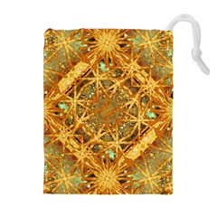 Digital Abstract Geometric Collage Drawstring Pouches (Extra Large)