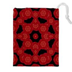 Stylized Floral Check Drawstring Pouches (XXL)