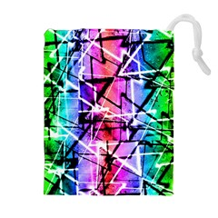 Multicolor Geometric Grunge Drawstring Pouches (Extra Large)