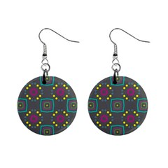 Squares And Circles Pattern 			1  Button Earrings