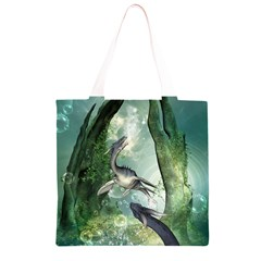 Awesome Seadraon In A Fantasy World With Bubbles Grocery Light Tote Bag