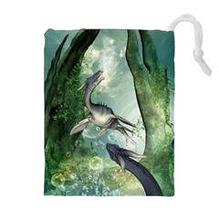 Awesome Seadraon In A Fantasy World With Bubbles Drawstring Pouches (Extra Large)