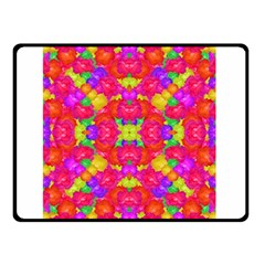 Multicolor Floral Check Double Sided Fleece Blanket (small)