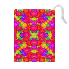 Multicolor Floral Check Drawstring Pouches (extra Large)